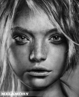Melamory Larionova逼真写实素描人像铅笔画作品赏析(5)